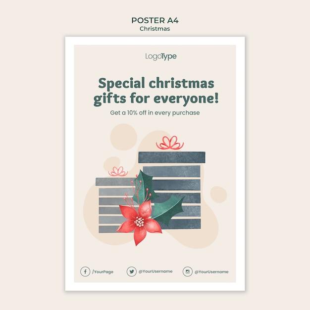 Cartaz online de modelo de compras de natal Psd grátis