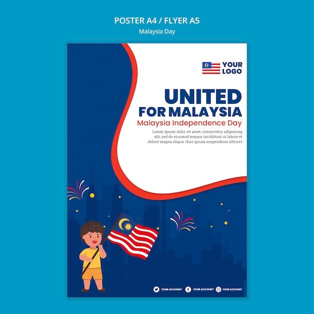 Cartaz para a celebração do aniversário do dia da malásia Psd grátis