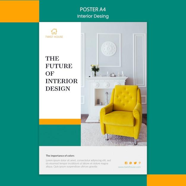 Cartaz para design de interiores Psd grátis