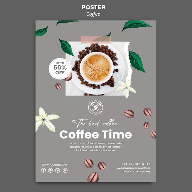 Cartaz vertical para café Psd grátis
