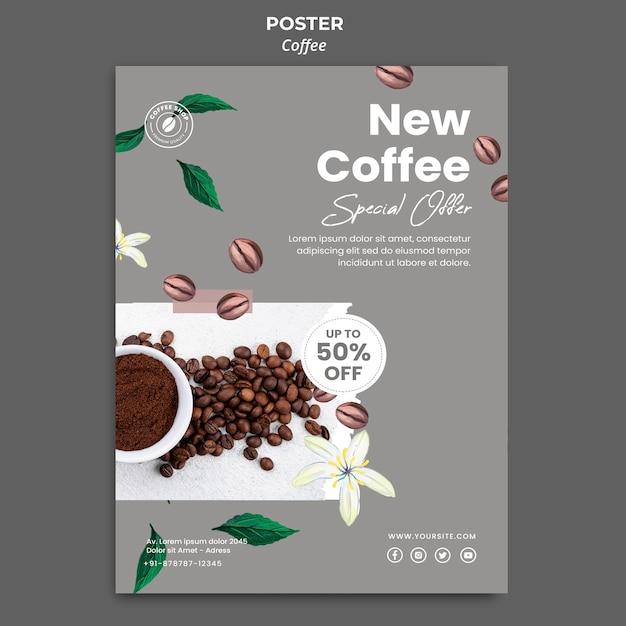 Cartaz vertical para café Psd Premium