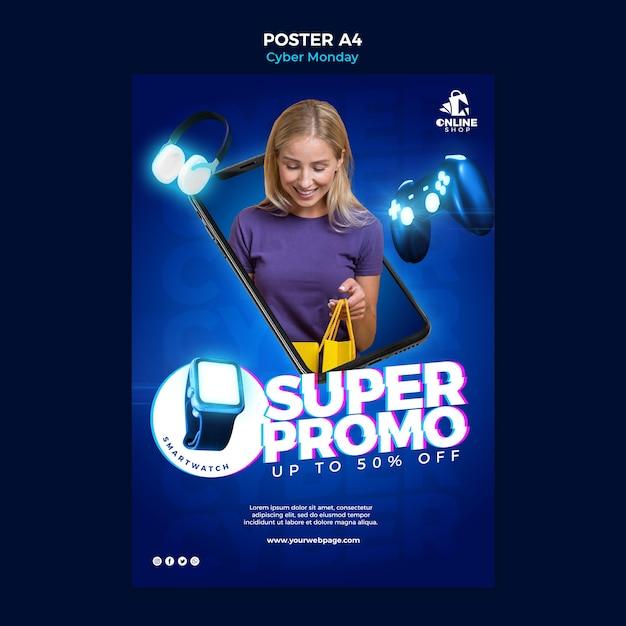 Cartaz vertical para cyber segunda-feira com mulher e itens Psd grátis