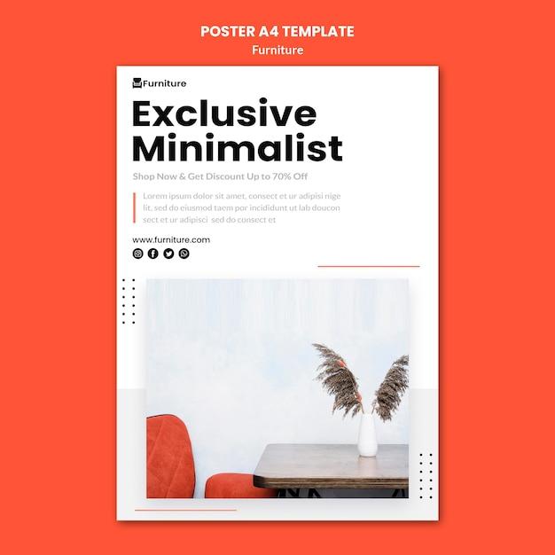 Cartaz vertical para designs de móveis minimalistas Psd grátis