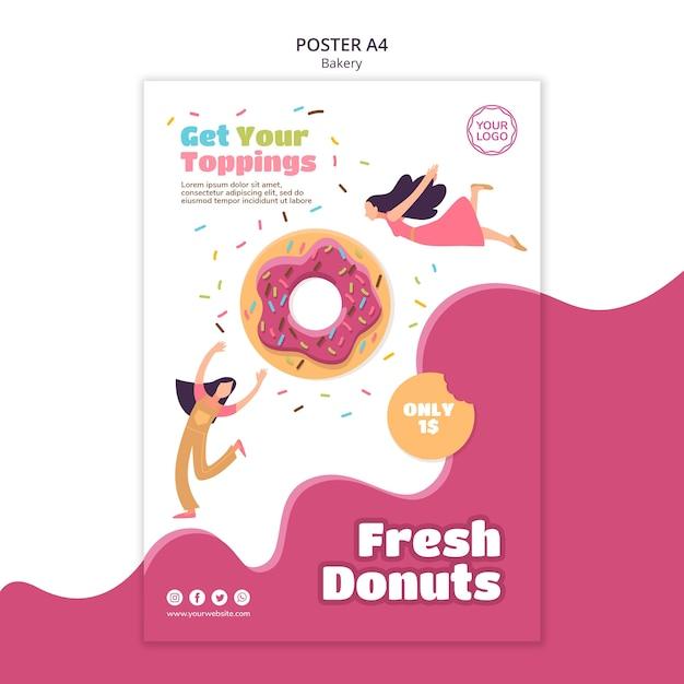 Cartaz vertical para donuts assados Psd Premium