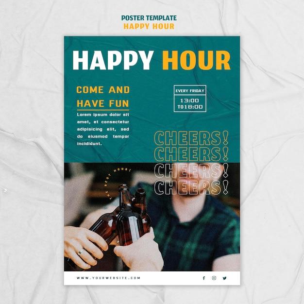 Cartaz vertical para happy hour Psd grátis