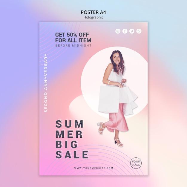 Cartaz vertical para liquidação de verão Psd Premium