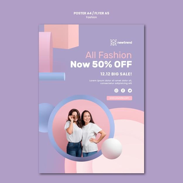 Cartaz vertical para loja de varejo de moda Psd grátis