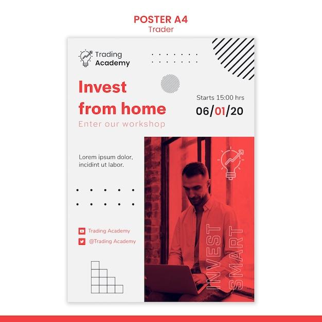 Cartaz vertical para ocupação de trader de investimento Psd grátis