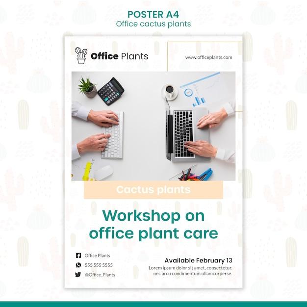 Cartaz vertical para plantas de espaço de trabalho de escritório Psd grátis