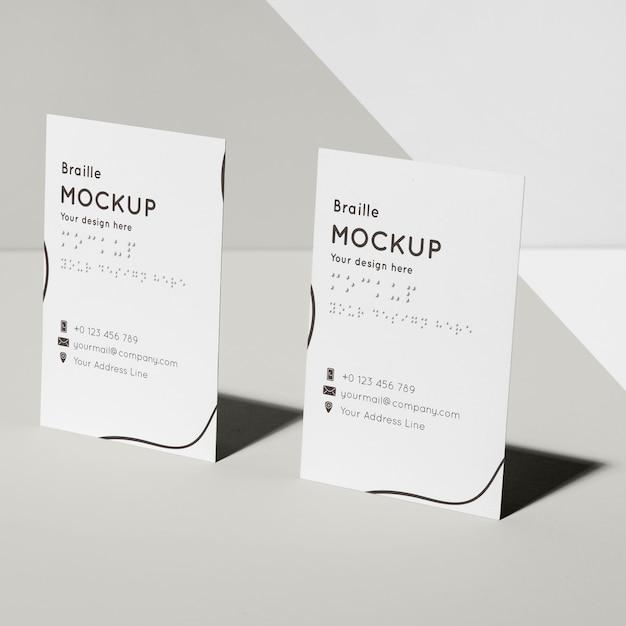 Cartões de visita com maquete em braille em relevo Psd grátis