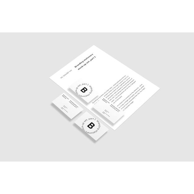 Cartões de visita e maquete de folheto sobre fundo branco Psd grátis