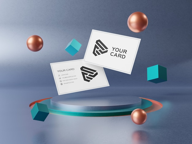 Cartões de visita flutuantes no pódio de palco mockup Psd Premium