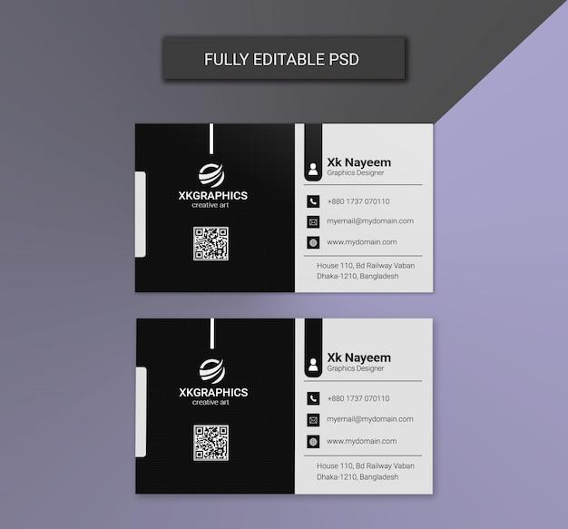 Cartões de visitas corporativos preto e branco Psd Premium