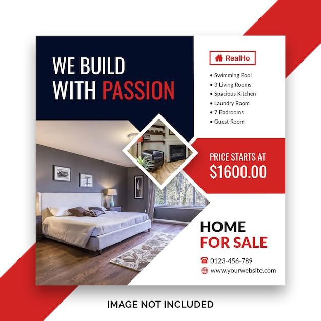 Casa para venda mídia social banner ou folheto quadrado modelo Psd Premium