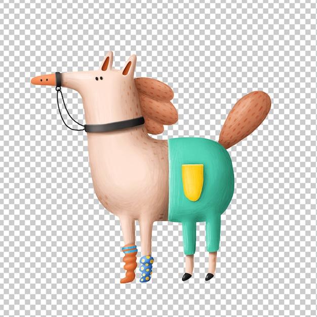 Cavalo dos desenhos animados mão ilustrações desenhadas Psd Premium
