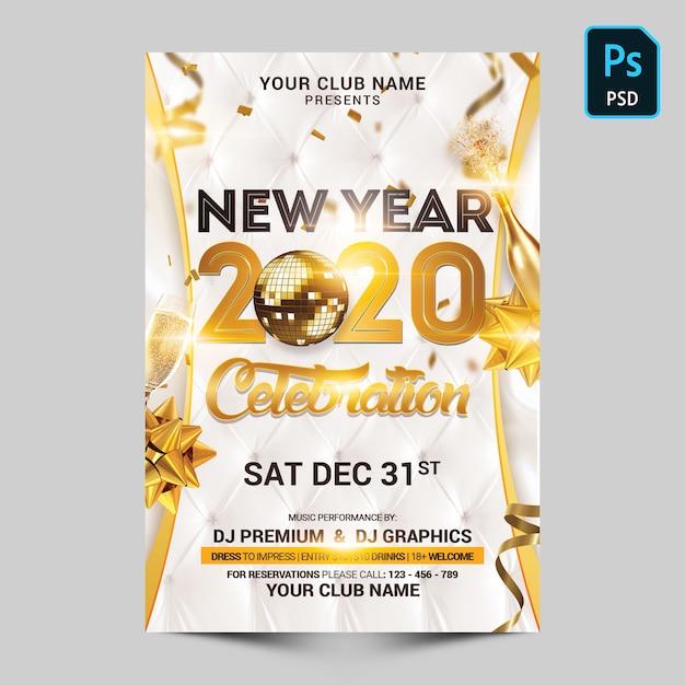 Celebração de ano novo em branco e ouro Psd Premium