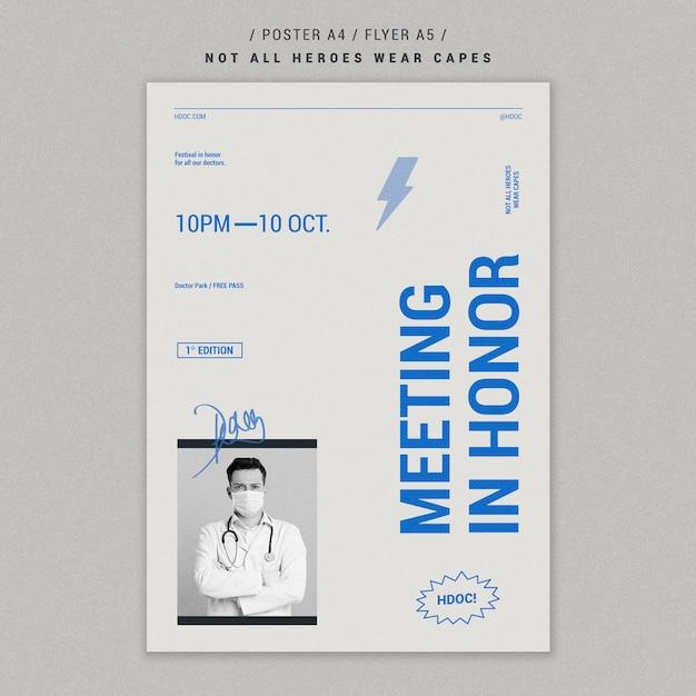 Celebrando o design de folheto de médicos Psd grátis