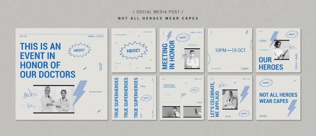 Celebrando os posts das mídias sociais dos médicos Psd grátis