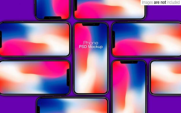 Cena de coleção de maquete do iphone x psd Psd Premium