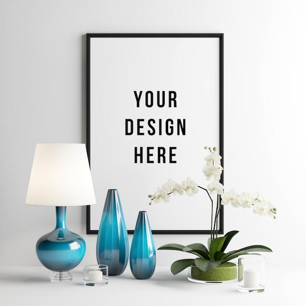 Cena de interior de maquete de quadro com decorações Psd Premium