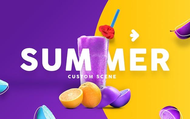 Cena personalizada de verão com mockup de suco Psd Premium