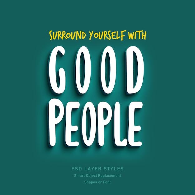 Cerque-se de boas pessoas efeito de estilo de texto de citação 3d psd Psd Premium