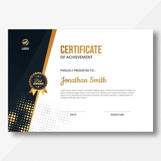 Certificado de meio-tom dourado Psd Premium