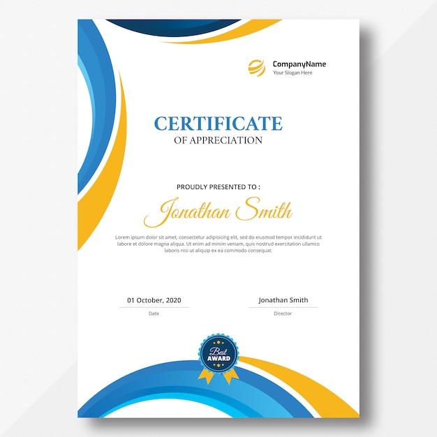 Certificado vertical de formas laranja e azul Psd Premium