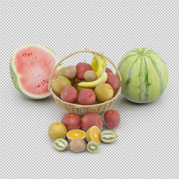 Cesta com frutas Psd Premium