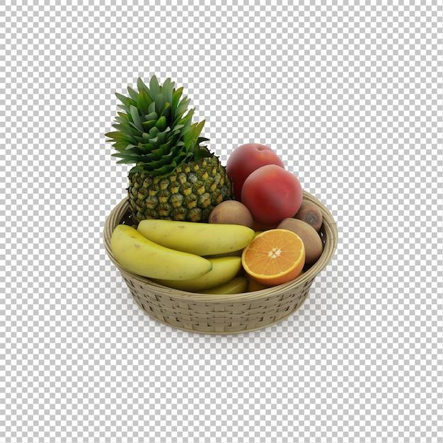 Cesta isométrica com frutas Psd Premium