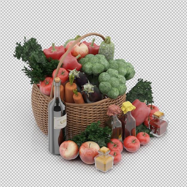 Cesta isométrica com legumes e frutas na cesta de vime Psd Premium