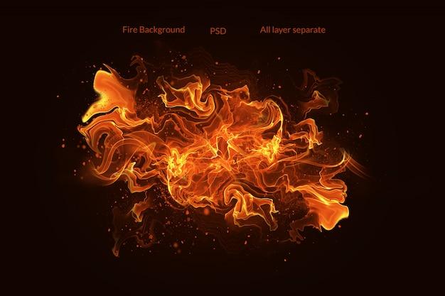 Chamas de fogo com faíscas em um fundo preto Psd Premium
