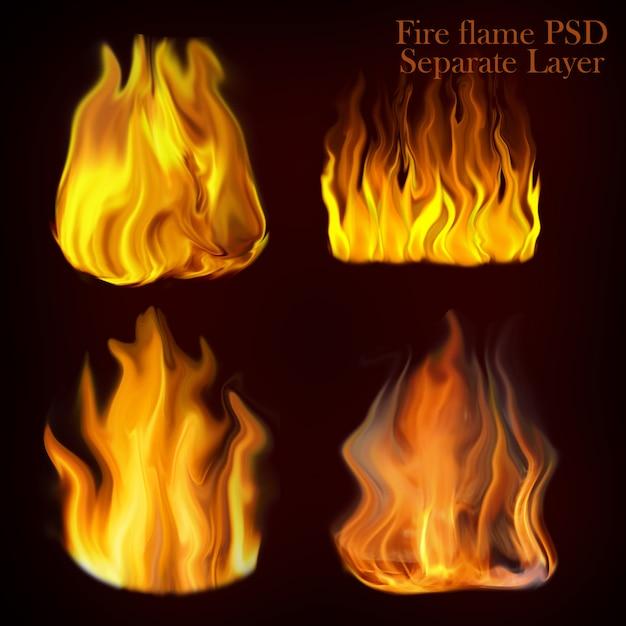 Chamas de fogo conjunto de coleção Psd Premium