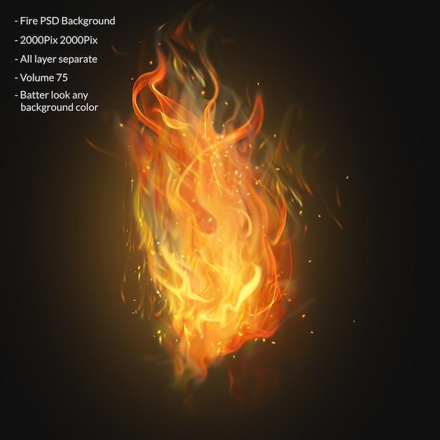 Chamas de fogo isoladas em transparente Psd Premium