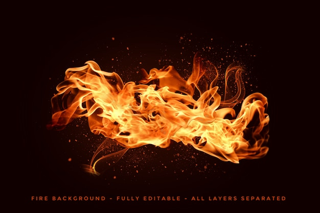Chamas de fogo realistas Psd Premium