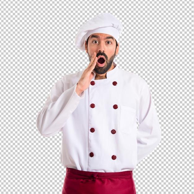 Chef, fazendo o gesto de surpresa sobre fundo branco Psd Premium