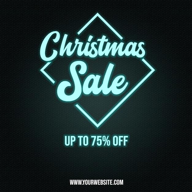 Chrismas sale poster banner em efeitos de estilo neon Psd Premium