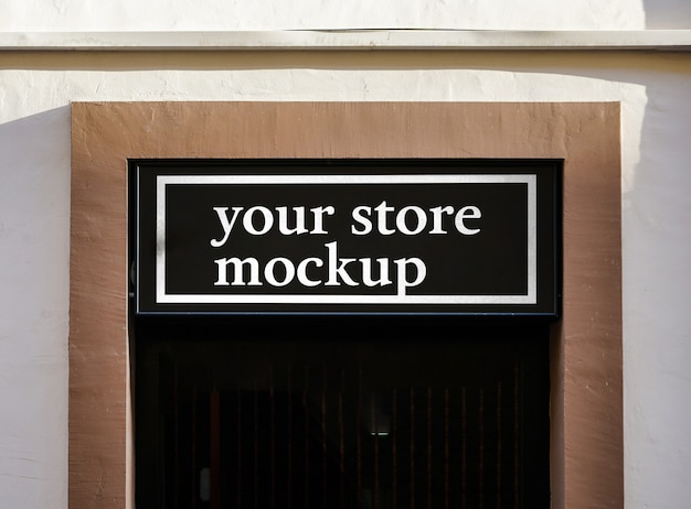 Cidade de loja de sinal de maquete Psd grátis