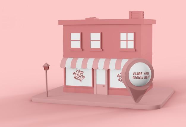 Cidade dos desenhos animados com maquete de ponteiro de mapa Psd grátis