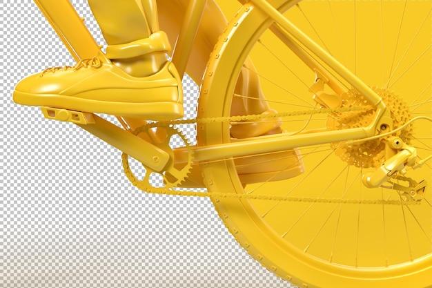 Close up de corrente de bicicleta e sistemas de roda dentada em renderização 3d Psd Premium