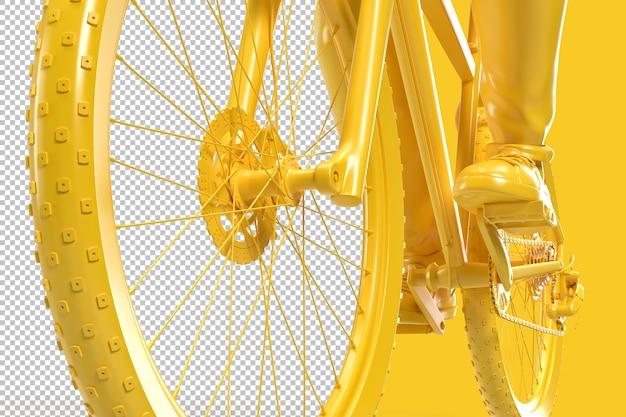 Close-up de um ciclista andando de bicicleta em renderização 3d Psd Premium