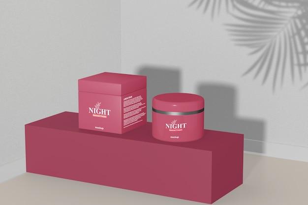 Close-up em maquete de embalagens de cosméticos Psd Premium