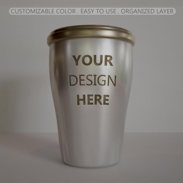 Close-up em relevo de modelo de xícara de café de aço inoxidável mini Psd Premium