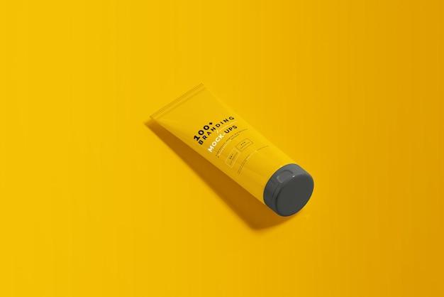 Close-up na embalagem do cosmético tubo maquete Psd Premium