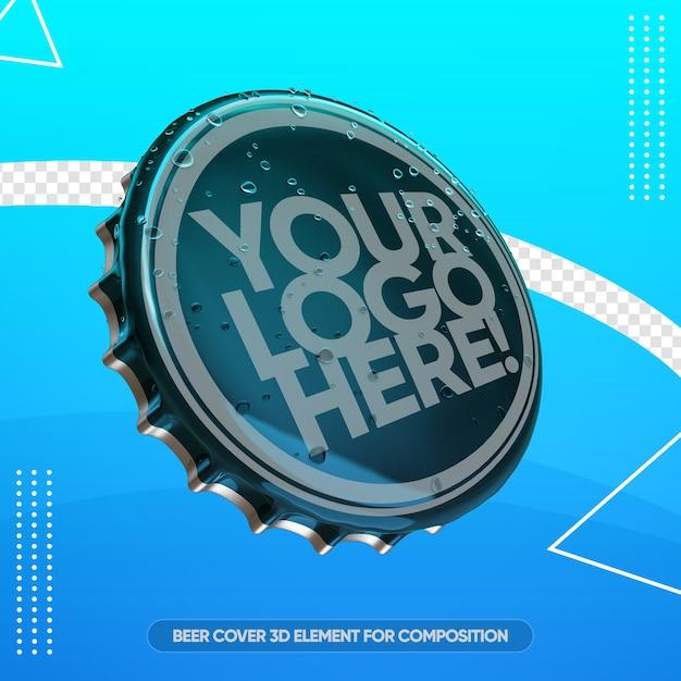 Close-up na maquete da tampa da cerveja Psd Premium