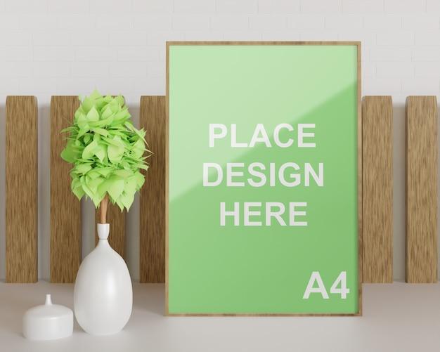 Close-up na maquete de madeira com vaso de planta branco Psd Premium
