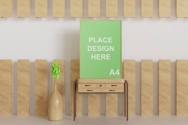 Close-up na maquete de quadro de pôster lixando na mesa de madeira Psd Premium