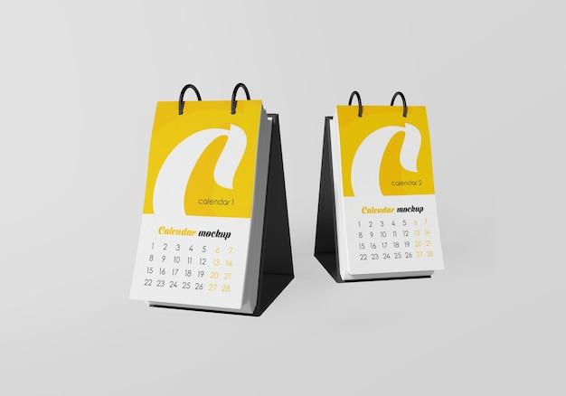 Close-up na maquete do calendário da mesa isolada Psd Premium
