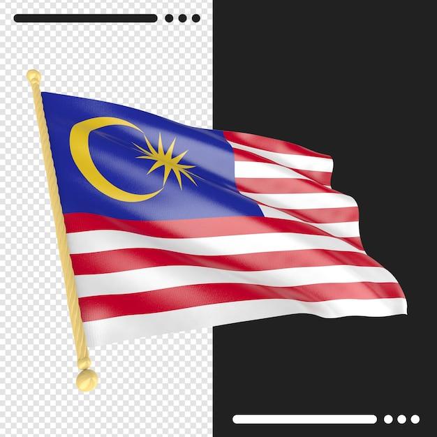 Close-up na renderização da bandeira da malásia isolada Psd Premium
