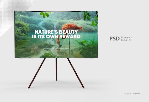 Close-up no monitor de tv com suporte isolado Psd Premium